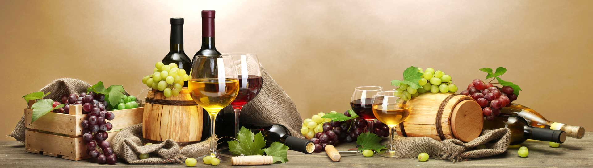 wine and cheese with barrels